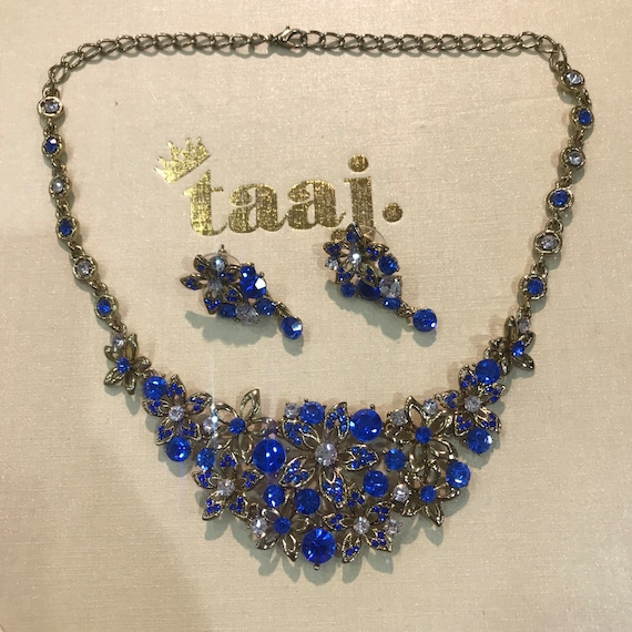 Monte Gold blue diamanté necklace earrings set prom party wedding indian jewellery