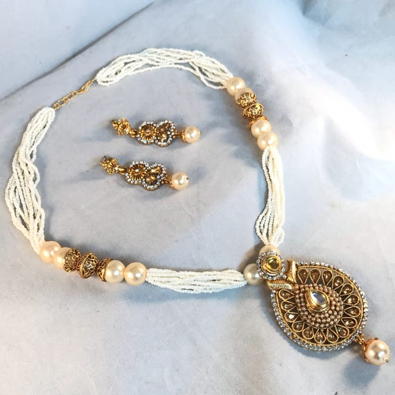 Gold Pearl Strand Mala Necklace Set indian Bridal Pakistani style jewellery