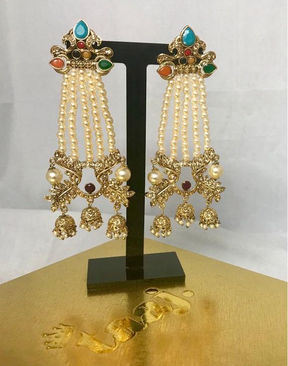 Radha Gold zirconia multi colour 3 jhumka pearl strand earrings