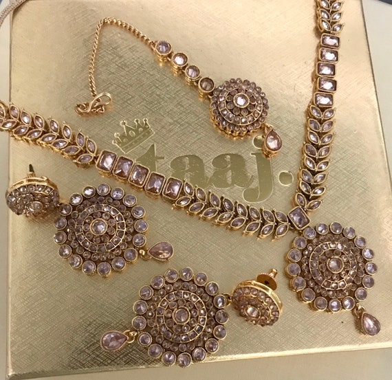 Mobin Gold zirconia Necklace Earrings and tikka set, Indian Bridal party Pakistani jewellery