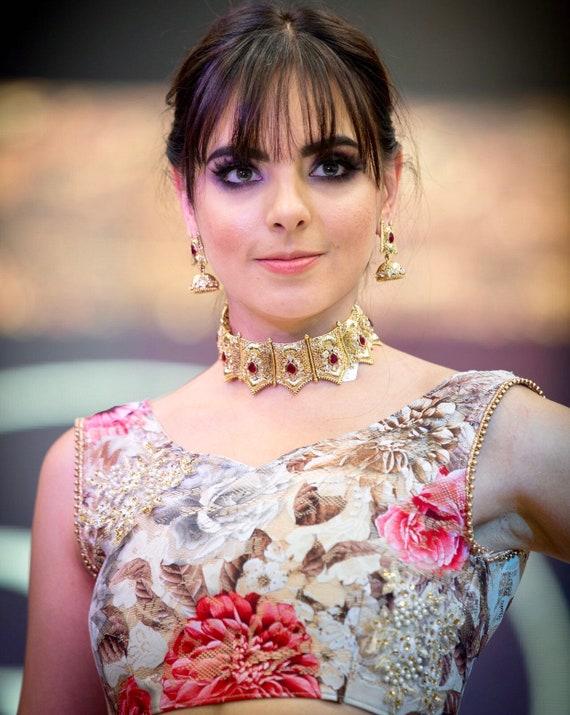 Nadia Gold choker necklace jhumka earrings tikka set  zirconia Indian bridal Pakistani jewellery