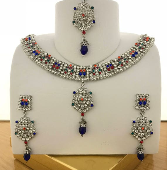 Aashi Silver & multicolour Necklace earrings and tikka set