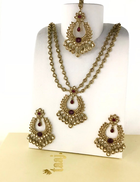 Laiya Gold & maroon zirconia necklace earrings tikka set Indian bridal Pakistani jewellery