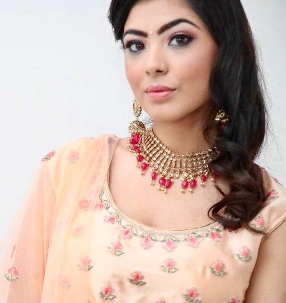 Sian Antique gold rani pink choker and jhumka earrings Indian bridal Pakistani jewellery