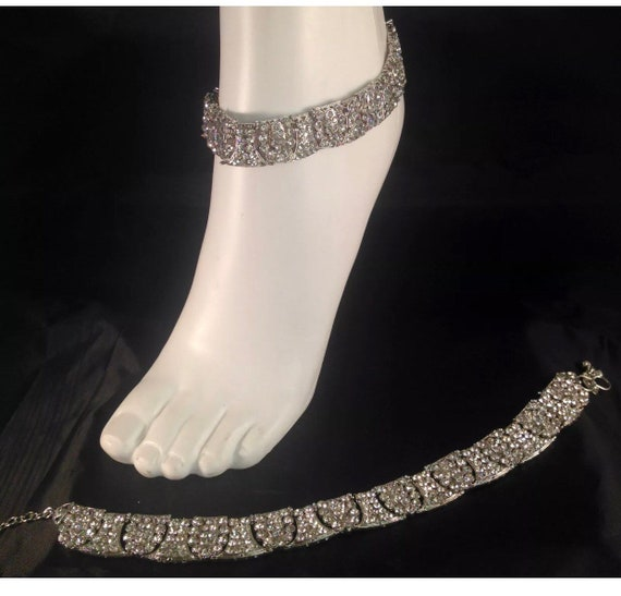 Piya Silver diamanté pair of payal anklet foot chain
