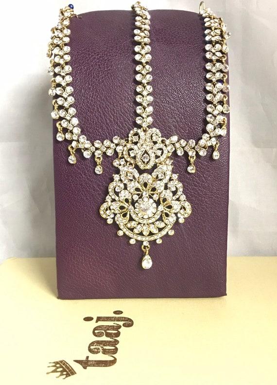 Satine Gold diamanté headpiece matha patti tikka hijab chain hair jewellery