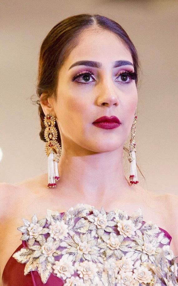 Hasina Gold and red pearl strand jhumka earrings indian bridal Pakistani jewellery