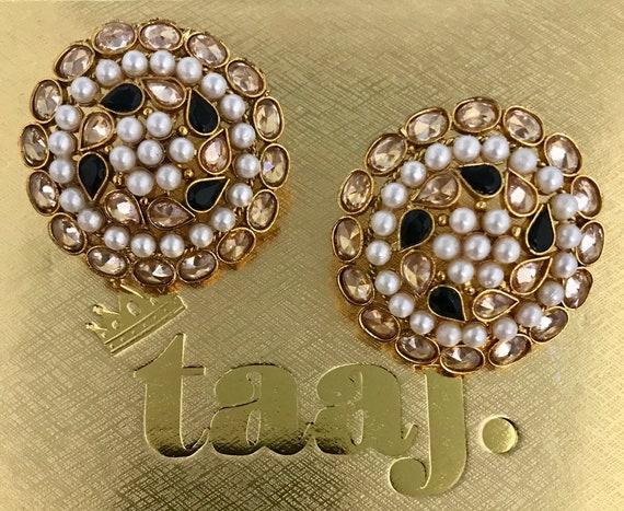 Jhanak Gold zirconia black pearl studs tops earrings polki kundan indian bridal Pakistani jewellery