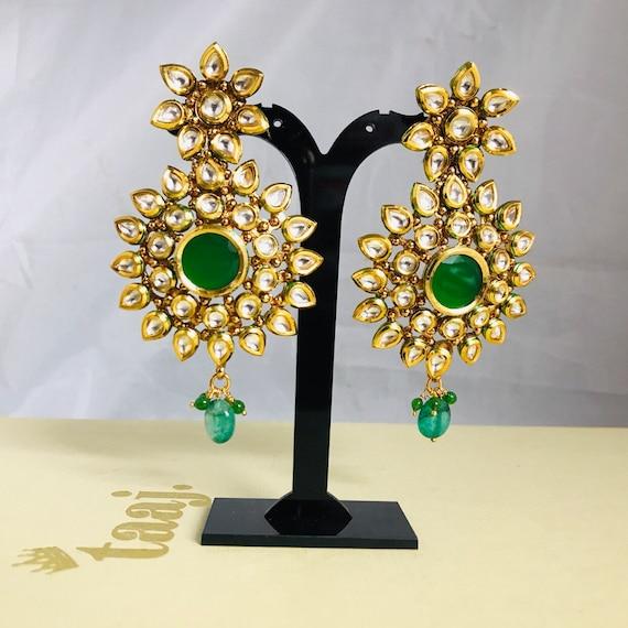 Meesha Gold green kundan earrings large statement indian Pakistani jewellery