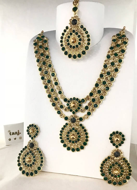 Olivia Gold & green necklace earring and tikka set, partywear indian jewellery