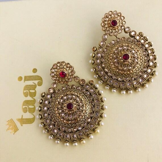 Ashtra Gold pearl ruby zirconia large statement earrings infian bridal tops
