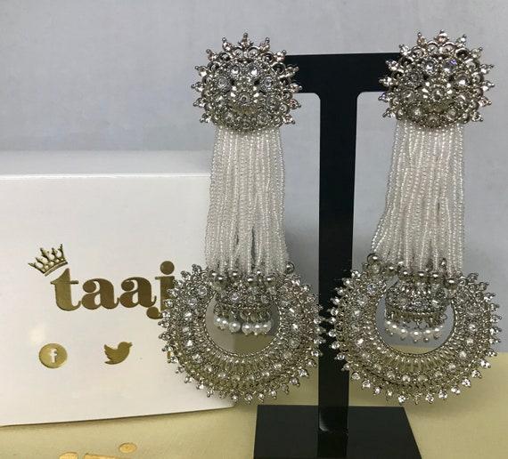 Rekha Silver pearl bead strand jhumka style earrings