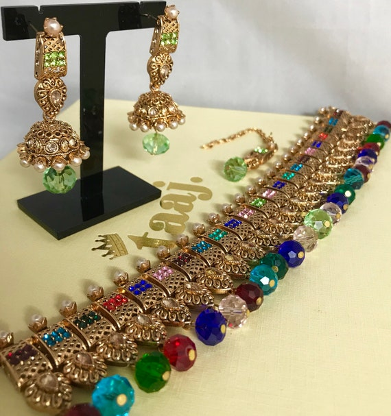 Zaha Gold pearl multi colour choker necklace jhumka earrings tikka indian Pakistani jewellery