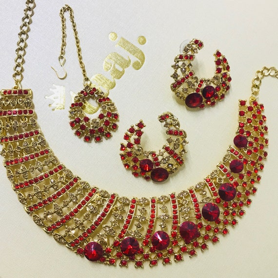 Ashkey Gold & red diamanté Necklace Earring and tikka set, indian bridal party prom jewellery
