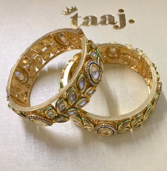 Sultana Gold kundan pair of kara bangles churi bracelet wrist cuff indian jewellery