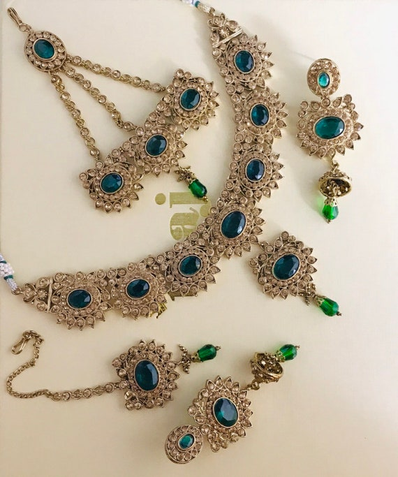 Maci Gold green diamanté necklace jhumar jhumka earrings tikka indian bridal Pakistani jewelry