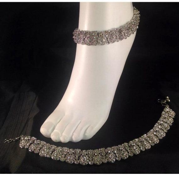 Miya Silver diamanté pair of anklet payal foitchain chanjar