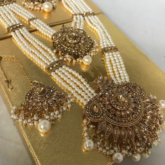 Fari Gold & pearl zirconia long haar Necklace Earring and tikka set