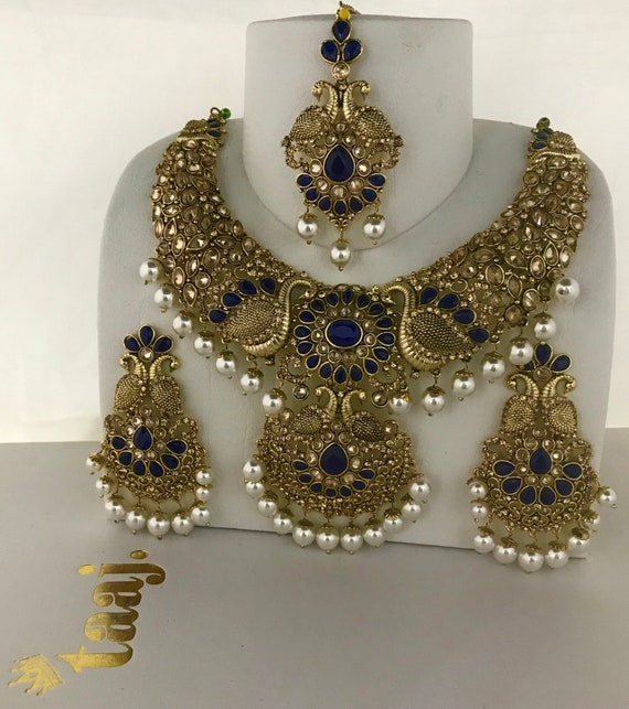 Nisha Gold & navy pearl necklace earrings and tikka set, indian bridal pakistani jewellery