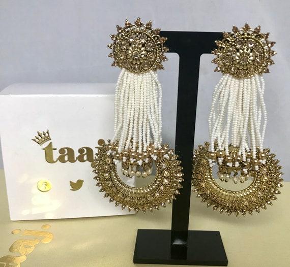 Rekha Gold pearl bead strand jhumka style earrings