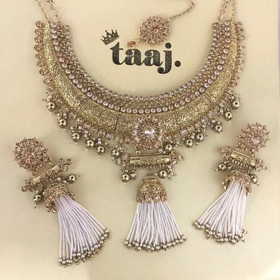 Khushi Gold zirconia pearl strand necklace jhumka earrings and tikka set Indian bridal Pakistani jewellery