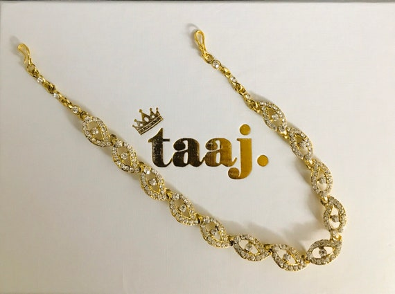 Gazal Gold diamanté hair chain matha patti hijab headpiece boho hippie Indian bridal jewellery