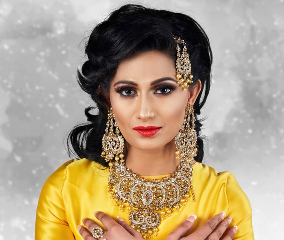 Gold diamanté and pearl necklace earrings & tikka set, indian bridal Pakistani jewellery