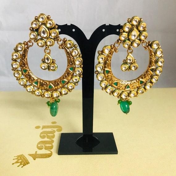 Seema Gold kundan green chaand bali earrings Indian bridal pakistani bollywood jewellery