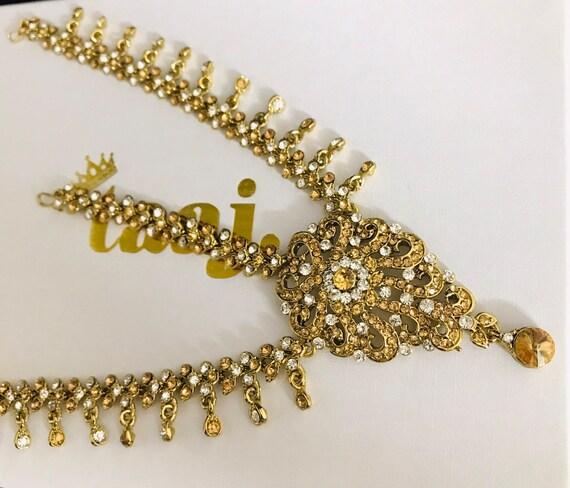 Shanti Gold diamanté headpiece tikka hijab grecian boho hair jewelry