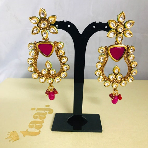 Hayal Gold kundan earrings ruby colour handcrafted Indian bridal Pakistani jewellery
