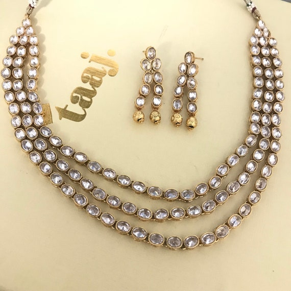 Shirin Gold zirconia 3 row mala Necklace and earrings