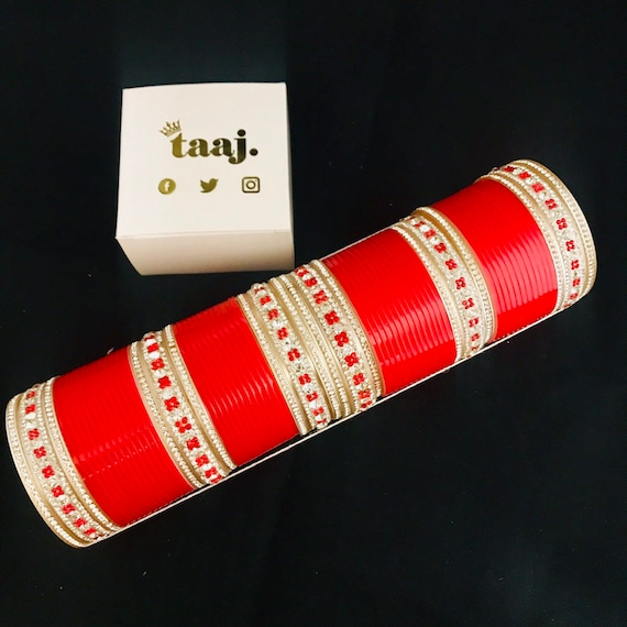Charan Red silver diamanté chura Indian bridal bangles traditional punjabi choora kara kangan