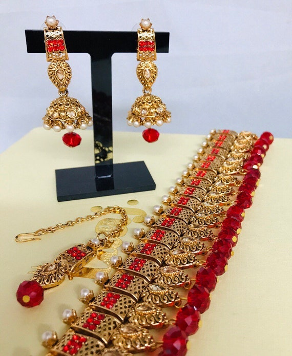 Zaha Gold red pearl choker necklace jhumka earrings and tikka indian bridal Pakistani jewellery