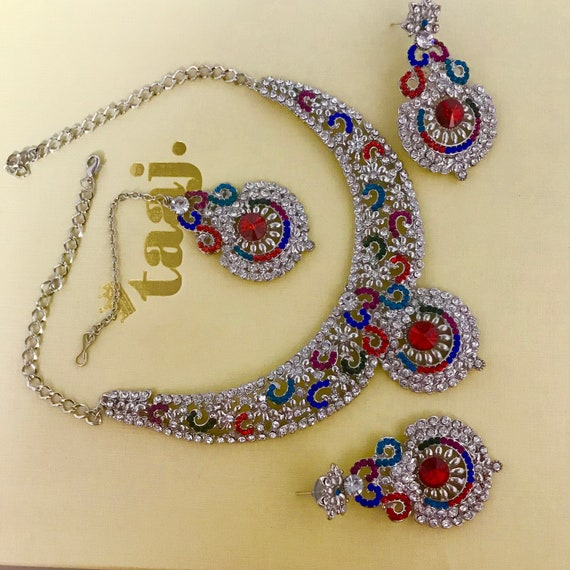 Shelley Silver multi colour diamanté necklace earrings tikka set, indian Pakistani wedding jewellery