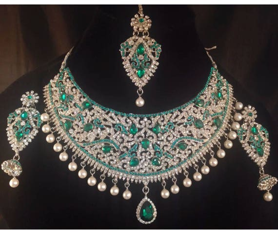 Silver & pearl choker style necklace earrings tikka set