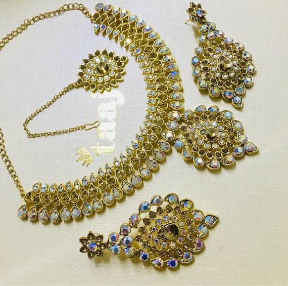 Alice Gold & rainbow colour diamante Necklace Earrings and tikka set