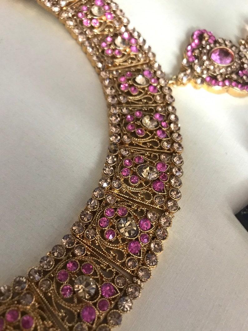 Gold pink diamante necklace earrings tikka set indian bridal Pakistani jewelry