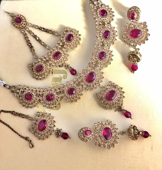 Maci Gold cerise pink necklace jhumka earrings tikka jhumar Indian Bridal Pakistani jewelry