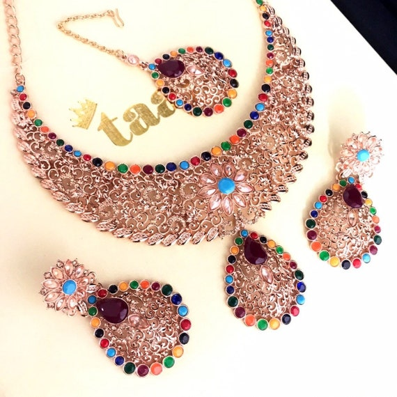 Asma Rose gold multi colour zirconia necklace earrings tikka set indian bride party prom jewellery