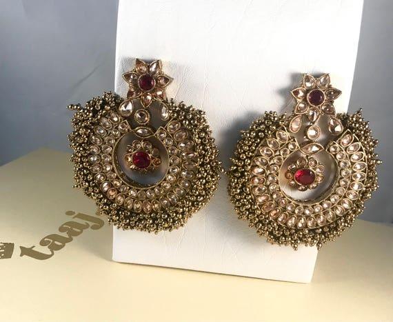 Vivah Antique gold polki chaand bali earrings