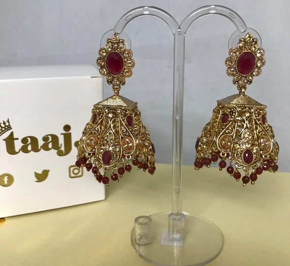 Risha Gold zirconia ruby colour jhumka earrings Pakistani partywear indian Bridal jewellery