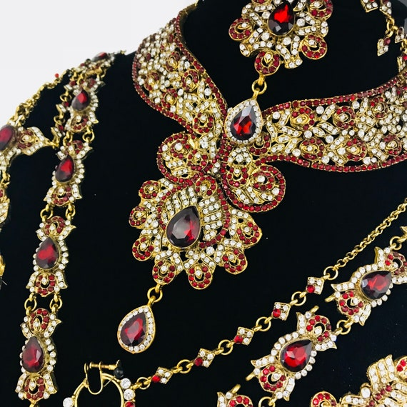 Paro Gold & maroon diamanté 8 piece Indian Bridal pakistani jewellery set