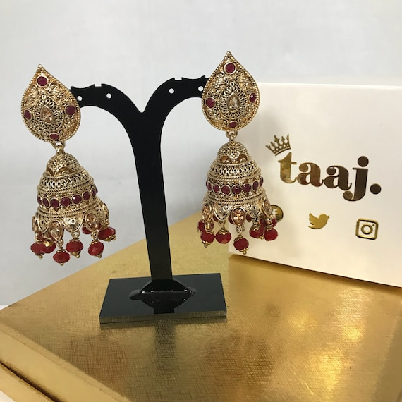 Daliah Gold zirconia ruby colour jhumka earrings