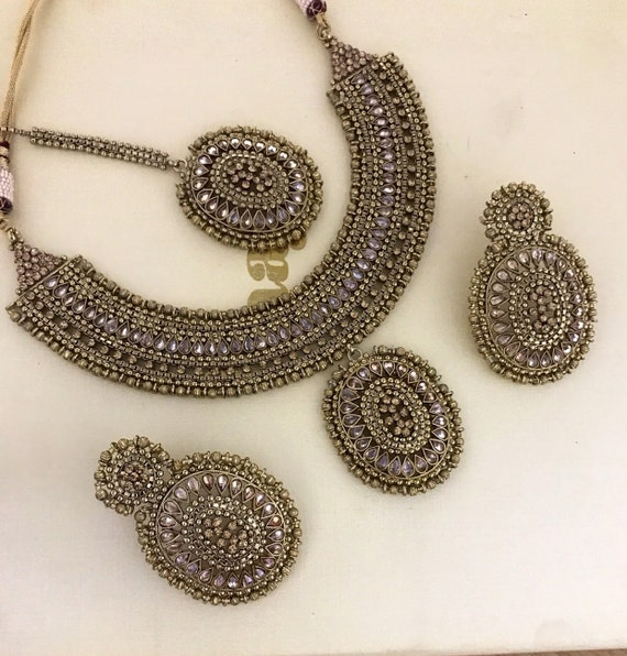Ridha Antique gold zirconia bead necklace tops earrings tikka set