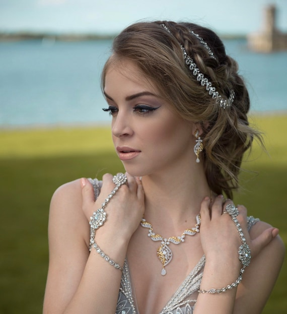 Gazal Silver diamanté hair chain headpiece matha patti hijab Indian bridal jewellery