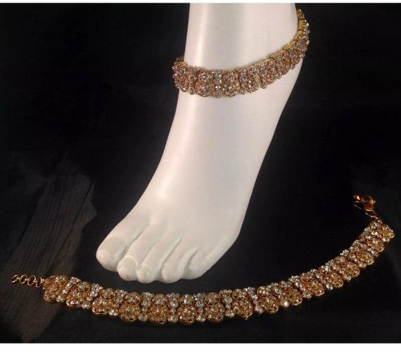 Miya Gold diamanté pair of anklet payal foot chain chanjar