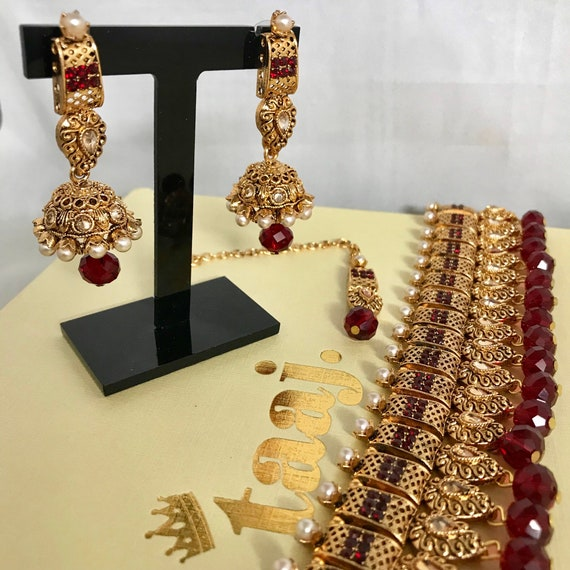 Zaha Gold maroon pearl zirconia choker necklace jhumka earrings tikka set Indian Bridal Pakistani jewellery
