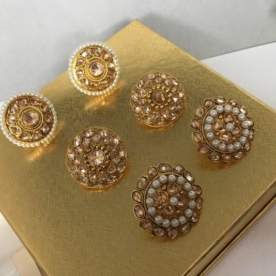 Aria 3 pack gold zirconia pearl stud earring tops