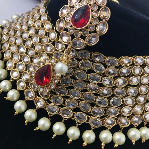 Savan Red & gold pearl zirconia 7 piece indian Bridal jewellery set