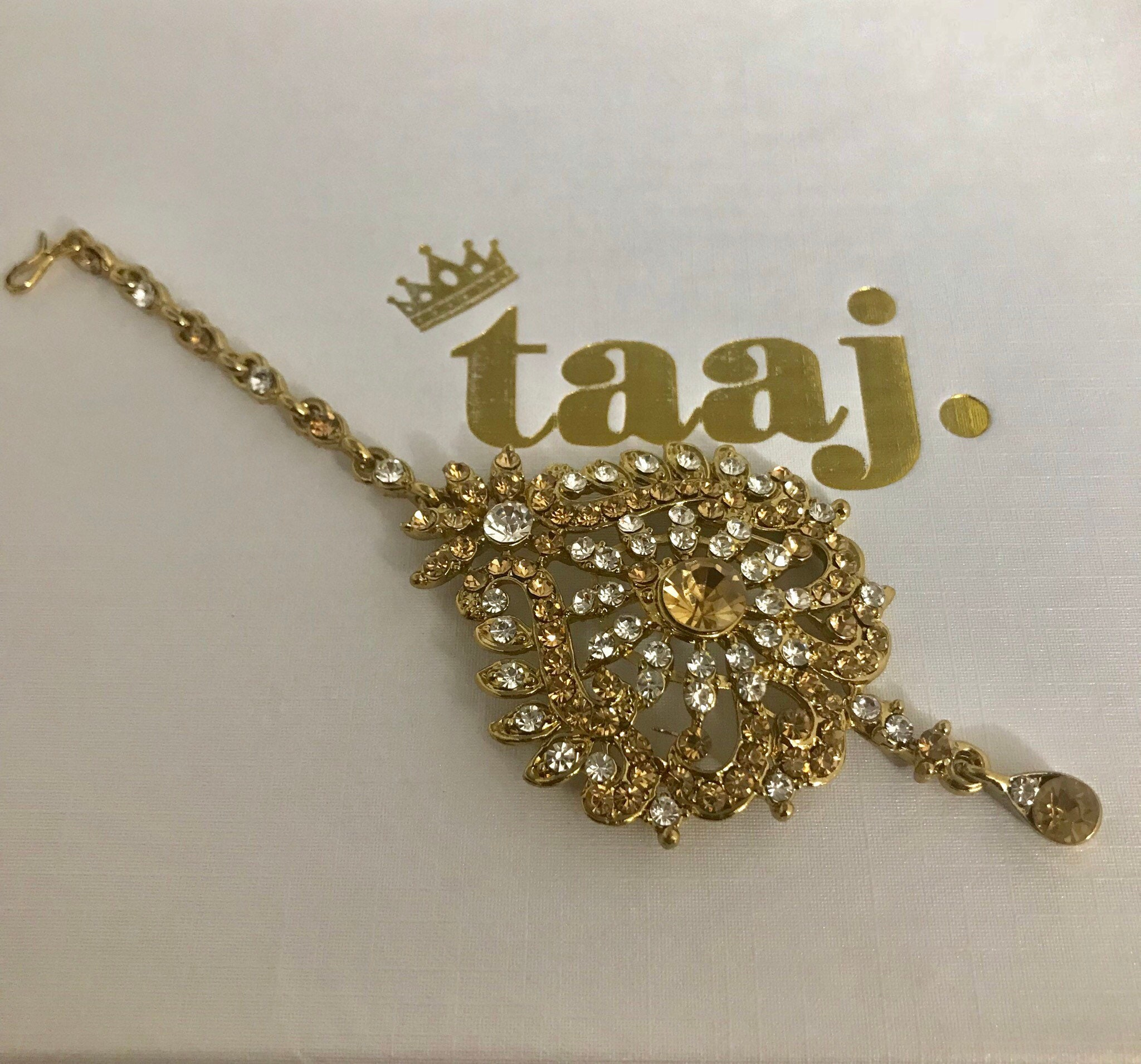 Houda Gold Diamante Tikka Headpiece Hair Hijab Wear Jewellery